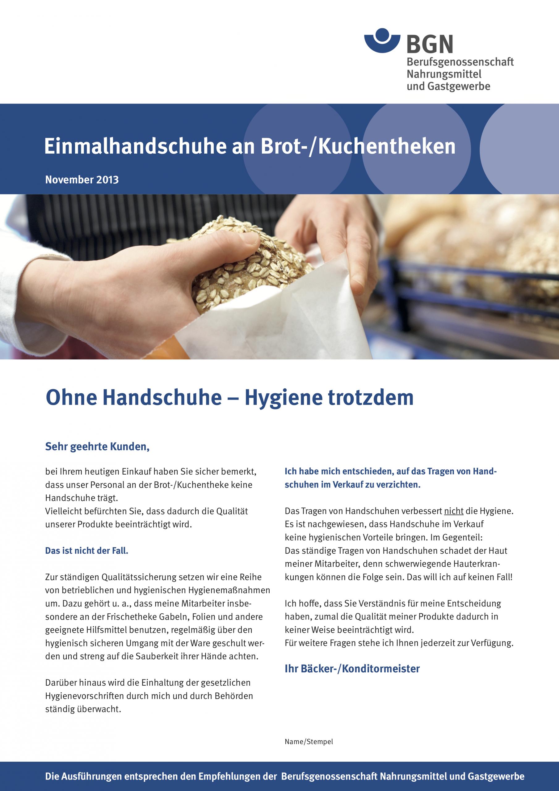 Aufklärung der Berufsgenossenschaft über die Schädlichkeit von Handschuhen für Gesundheit und Hygiene.