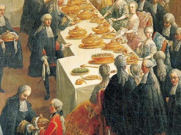 Die Kaisersemmel bei der festlichen Hoftafel in Wien. Martin van Meytens, nach 1760.