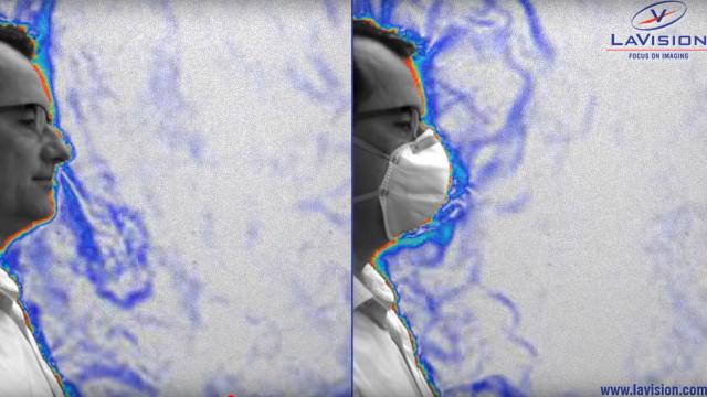 Schlierenbild: Atmen mit und ohne Maske zur Verdeutlichung der Verbreitung von Corona-Viren mit und ohne professionellem Atemschutz.
